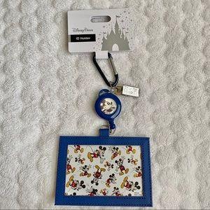 💙Disney Running Mickey Retractable ID Holder/Clip